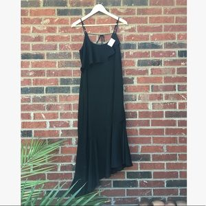 Black Date Night A Symmetrical Chiffon Dress NWT